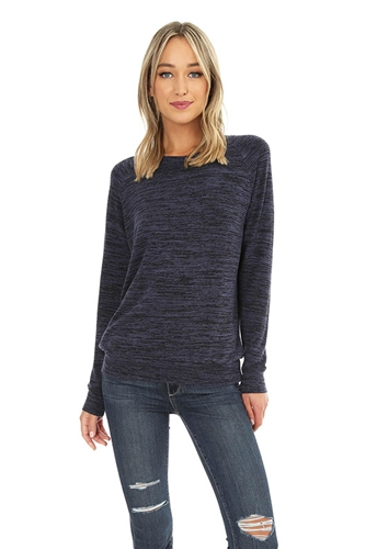Bobi Rib Raglan Long Sleeve Top in Navy