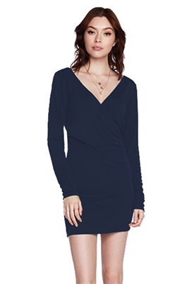 Bobi Fitted Surplice Long Sleeve Mini Dress in Blue