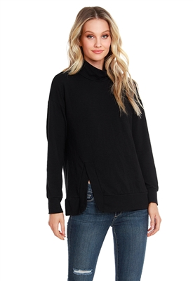 Bobi Long Sleeve Turtleneck Slit Hem Top in Black