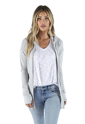 Bobi Drop Shoulder Long Sleeve Hoodie in Cloud