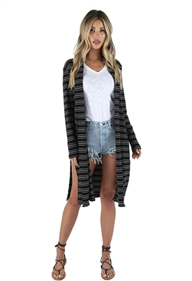 Bobi Drop Stripe Long Cardigan in Black & White
