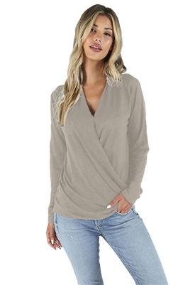 Bobi Long Sleeve Surplus Top in Rock