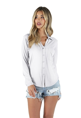 Bobi Long Sleeve Button Down Shirt in White