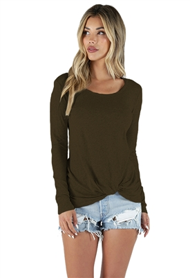 Bobi Long Sleeve Knot Tee in Brigade