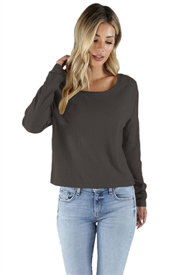Bobi Long Drop Shoulder Long Sleeve Crop Top in Grey