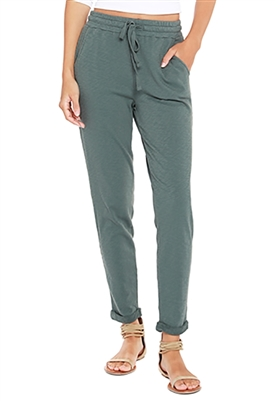 Bobi Terry Cuffed Pant in Dark Sage