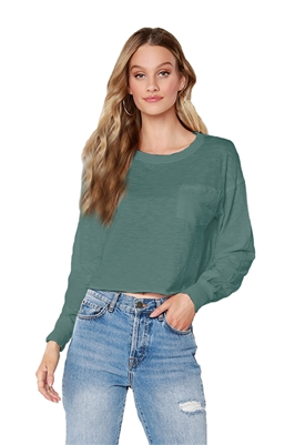 Bobi Long Sleeve Pocket Top in Dark Sage