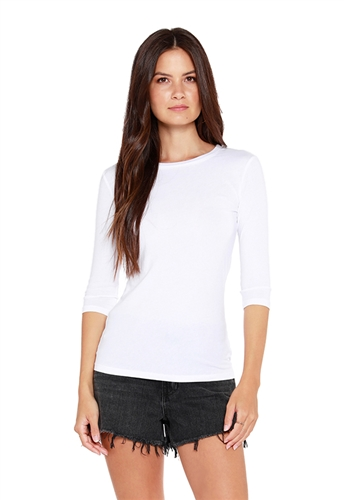 Bobi 3/4 Sleeve Tee Shirt in White