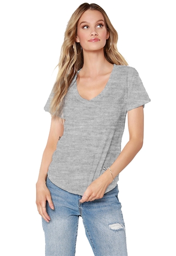 Bobi Round Hem V Neck Tee Shirt in Heather Grey