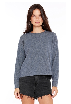 Bobi Long Sleeve Crew Neck Top in Blue