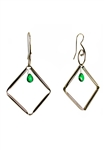 Sibilla G Rhombus Dangling Emerald Stainless Steel Earrings