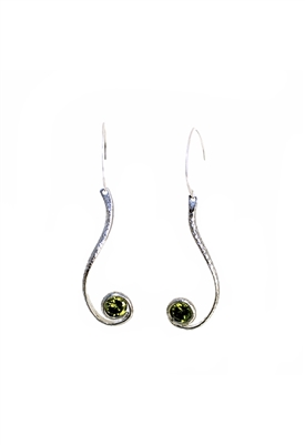 Sibilla G Fancy Cobra CZ Green Dangling Earrings