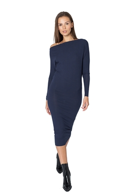Maison T Destiny Long Sleeve Midi Dress in Navy