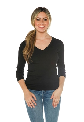 Three Dots Essential Deep V Neck 3/4 Sleeves Top in Black