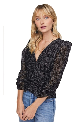 ASTR The Label Florence Velvet Puff Sleeve Top