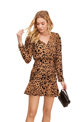 ASTR The Label Nikita Leopard Long Sleeve Mini Dress