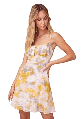 ASTR The Label Mon Cheri Tie Dye Dress Lemon-Pink Tie Dye