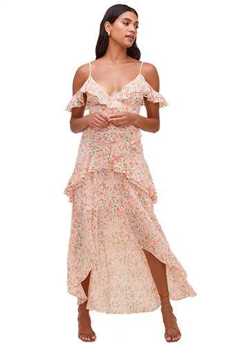 ASTR The Label Pemberley Floral High Low Dress in Peach/Orange