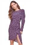 ASTR The Label Masie Ruffle Dress in Purple Navy Abstract