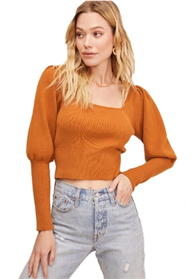 ASTR The Label Bijou Square Neck Sweater in Cider