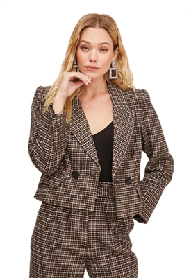 ASTR The Label Manhattan Houndstooth Cropped Blazer