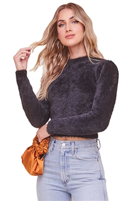 ASTR The Label Belle Fuzzy Knit Sweater in Black