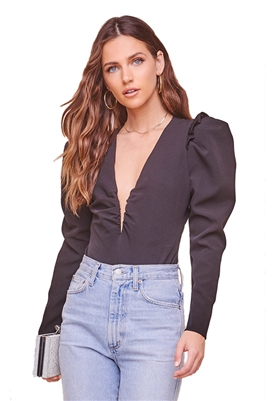 ASTR The Label Amora Long Sleeve Bodysuit in Black