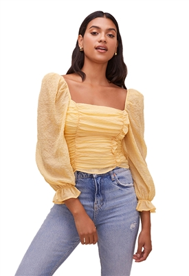 ASTR The Label Tonina Puff Sleeve Top in Dandelion Yellow