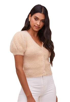 ASTR The Label Alba Puff Sleeve Cardigan in Nude