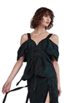 Acler Harwich Bodice in Black & Emerald