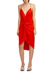 Acler Jenkins Twist Dress in Tangerine Red