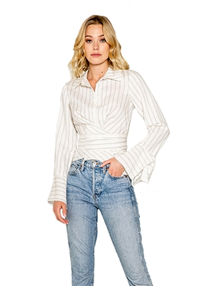 Lavender Brown Wrap Pinstripe Blouse in Ivory & Black