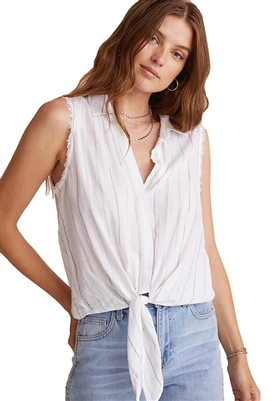 Bella Dahl Tie Front Sleeveless Button Down Shirt