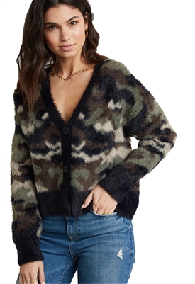 Bella Dahl Fuzzy Sweater Cardigan in Camo