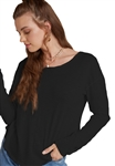 Bella Dahl Long Sleeve Circle Hem Tee in Black