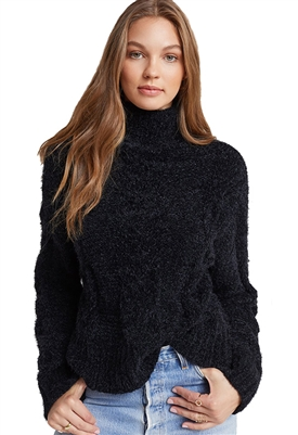 Bella Dahl Fuzzy Cable Knit Turtleneck Sweater in Black