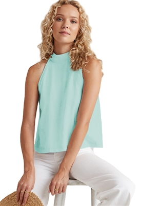 Bella Dahl Zip Back Halter in Sea Spray