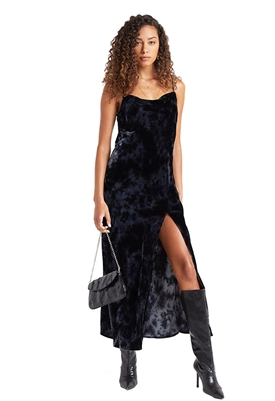 Bella Dahl Bias Cowl Neck Velvet Dress in Black Crystal
