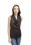Drew Ally Sleeveless Drape Front Top in Charcoal