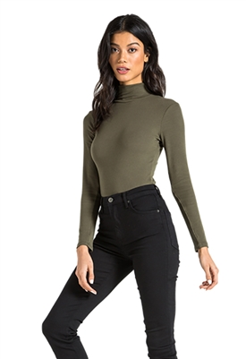 n:Philanthropy Brooke Turtleneck Bodysuit in Olive