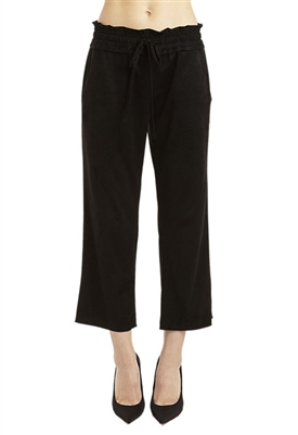 Drew Corey Faux Suede Cropped Pant in Charcoal