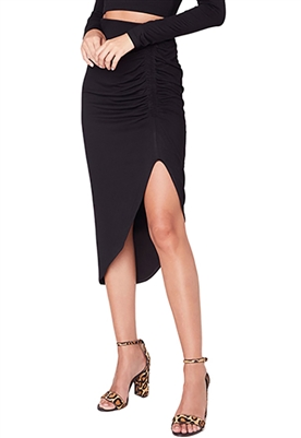 BB Dakota How Ruched Midi Skirt in Black