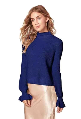 BB Dakota Knit's Official Mock Neck Lurex Sweater in Midnight