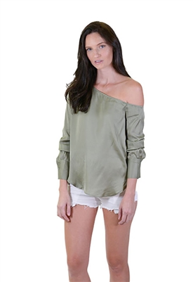 Blaque Label One Shoulder Blouse in Sage