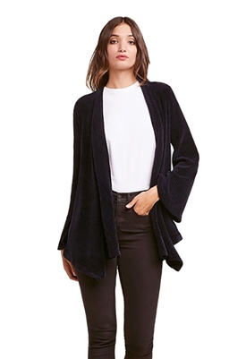 BB Dakota Chenille Of Fortune Drape Front Jacket in Midnight