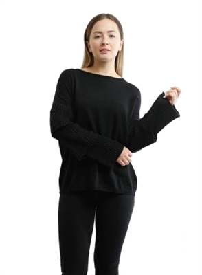 Central Park West Quincy Tiered Sleeve Sweater in Black