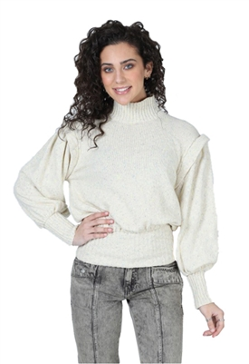 Central Park West Phillips Balloon Sleeve Turtleneck Sweater
