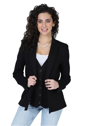 Central Park West Chazen Vest Blazer in Black