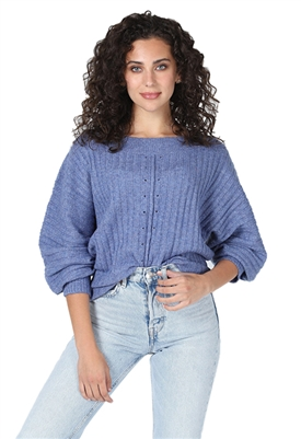 Central Park West Juniper Knit Puff Sleeve Sweater in Denim