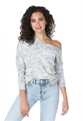 Central Park West Verbena Off Shoulder Sweater Blue Camo